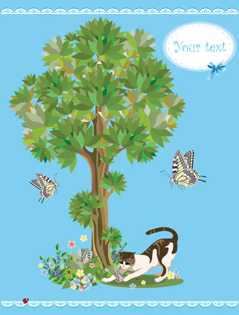 cat playing with butterflies Vector