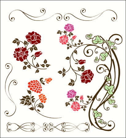 Vintage rose decoration set Stock Vector - 7619983