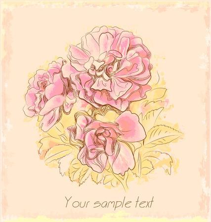 Rose autunnali sulla vecchia carta  Vettoriali