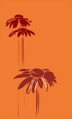 gerberas on the orange background Illustration