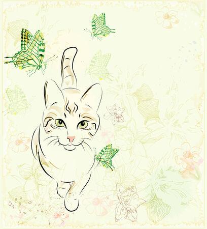 cat and butterflies Vector