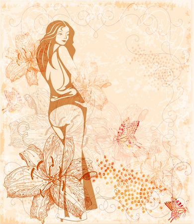autumn woman: girl on the floral background
