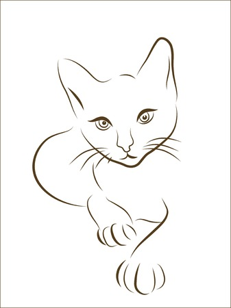 graphic illustration of  hunting cat Stock Vector - 7760644