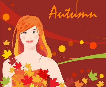 girl and  autumnal leaves Vector