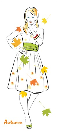 girl and  autumnal leaves Stock Vector - 7760646
