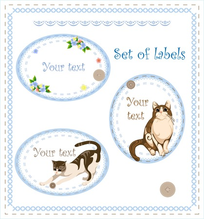retro set of labels with cat and flowers Vector