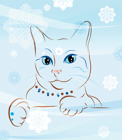 cat and snowflakes Vector