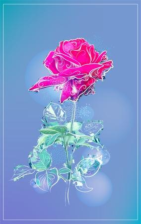 pastoral: outline pink rose over blue