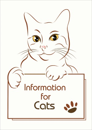 adorable outline cat holding banner Vector