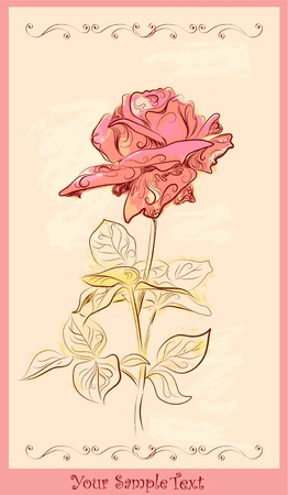 vintage greeting card with red rose Illustration