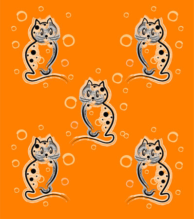 seamless pattern with funny kittens on the orange background  for children design Vector