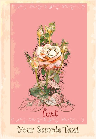 vintage greeting card with rose Stock Vector - 8008661