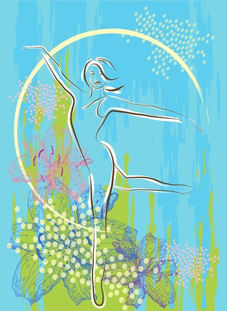 dancing girl over floral background Vector