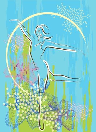 spring balance: dancing girl over floral background