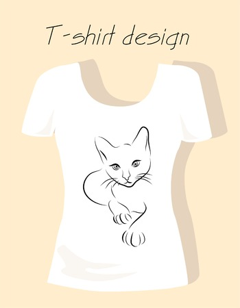 T-shirt design with outline silhouette cat Vector