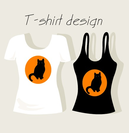 T-shirt design with black cat Vector
