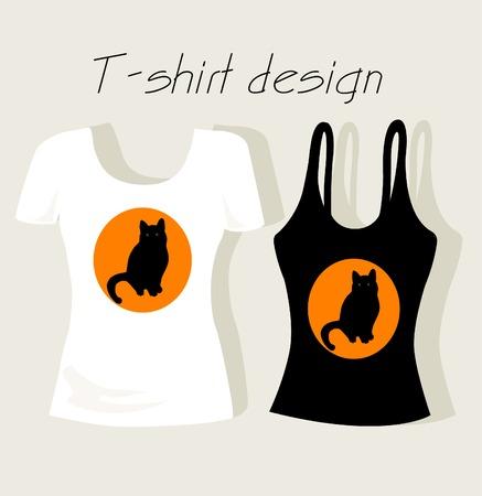 sleeveless: T-shirt design with black cat Illustration