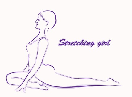 asana: girl doing stretching exercise Illustration