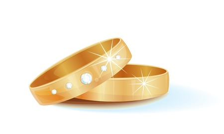 fiancee: gold wedding rings  Illustration