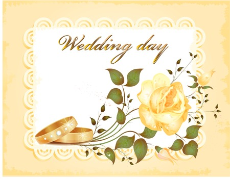 wedding card with rings and rose Vector