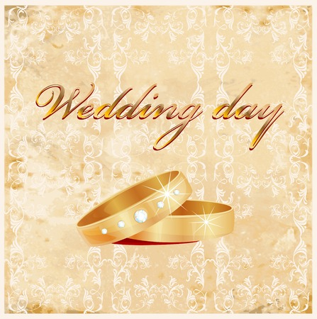 vintage wedding card with rings Stock Vector - 8089423