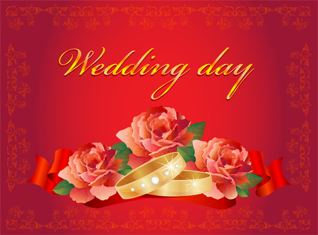 wedding card with rings and roses over red ribbon Vector