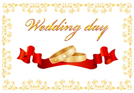 wedding card with rings and red ribbon Vector