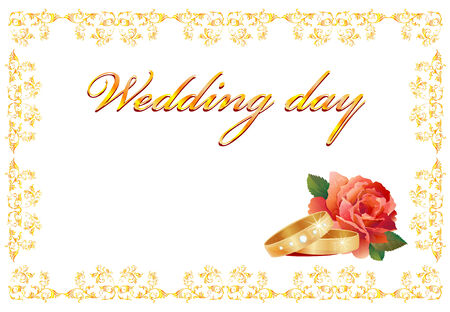 accesory: wedding card with rings and red rose