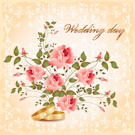 wedding card with rings and roses Stock Vector - 8089424