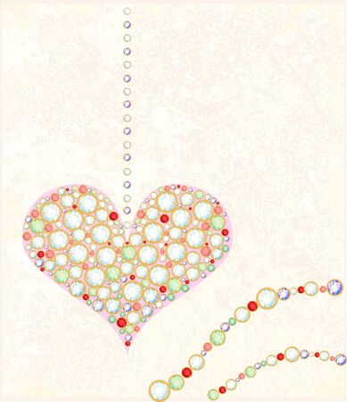 jewelery: greeting card with diamond heart Illustration