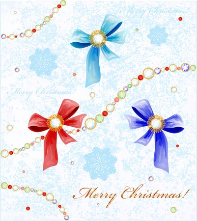 bijouterie: Christmas background with diamonds, bows and snowflakes Illustration