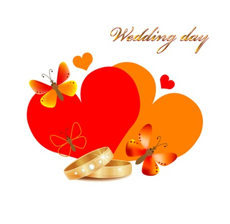 wedding card with rings, hearts and butterflies Stock Vector - 8089425
