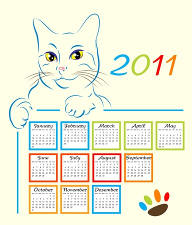 cat showing calendar design 2011 Vector