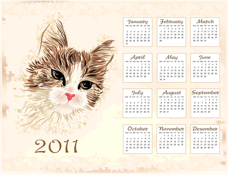 vintage  calendar 2011 with cat Vector
