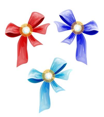 set of luxury bows with diamonds Stock Vector - 8152367