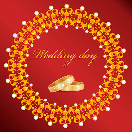 wedding card with rings  Vector