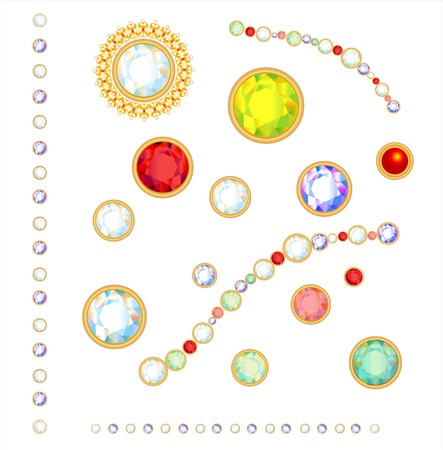 bijouterie: Collection of gems isolated on white background.  Illustration