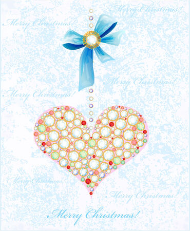 Christmas background with diamond heart and bow Vector