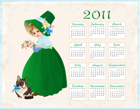 vintage  style  calendar 2011 with cat and girl Stock Vector - 8152371