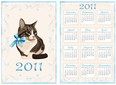 vintage pocket calendar 2011 with cat Vector