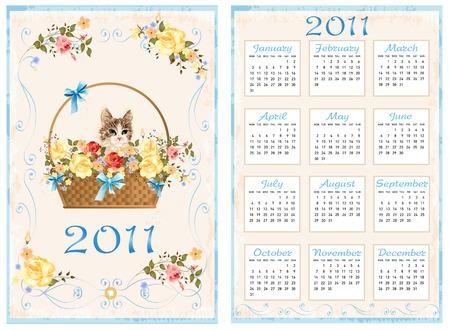 vintage pocket calendar 2011 with cat sitting in the basket.  70 x105 mm Vector