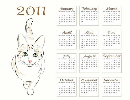 calendar design 2011 with walking cat Vector
