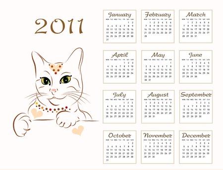 calendar design 2011 with glamour cat Vector