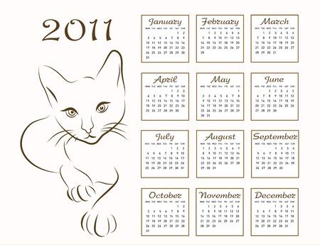 calendar design 2011 with outline cat Vector