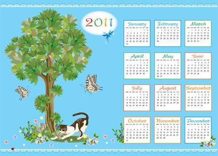 childish calendar 2011 with kitten and butterflies Vector