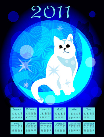 calendar 2011 with white cat Vector