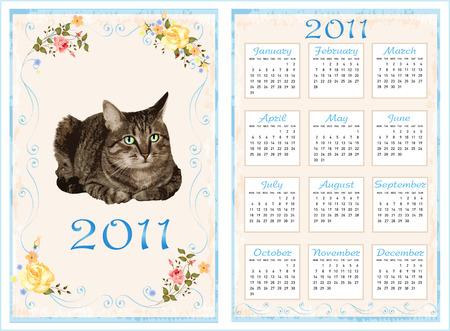 vintage pocket calendar 2011 with cat. 70 x105 mm Vector
