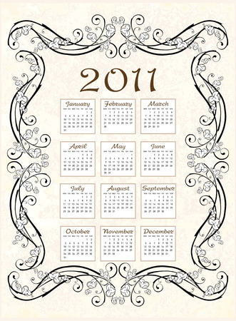 vintage calendar 2011  with floral frame Stock Vector - 8152449