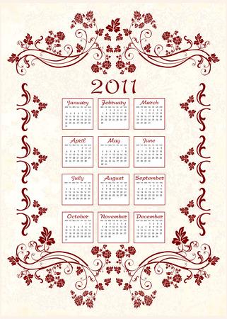 vintage calendar 2011  with floral frame Vector