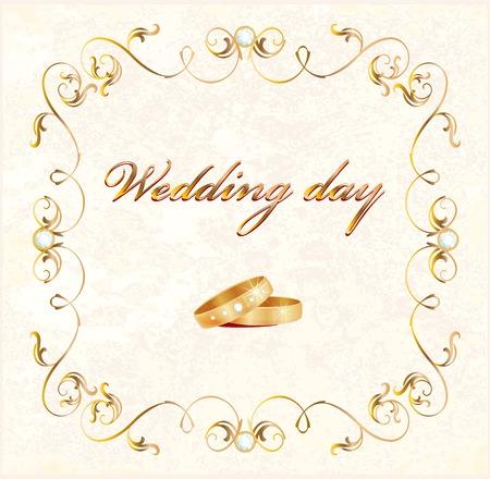 adorn: tarjeta de boda Vintage con anillos